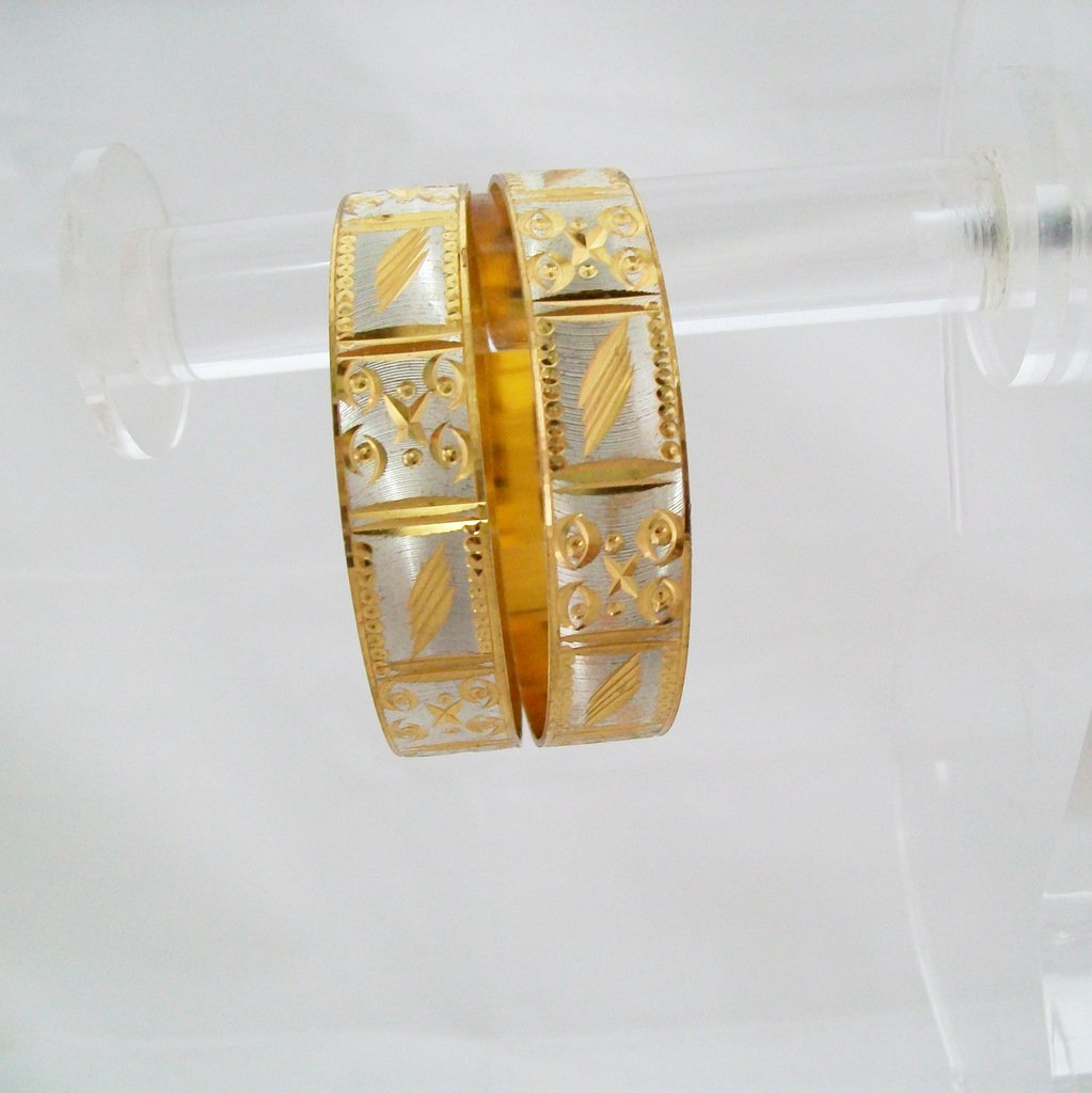 Trendy Fashion White Two Tone Gold Plated Bangle Bracelet Pair