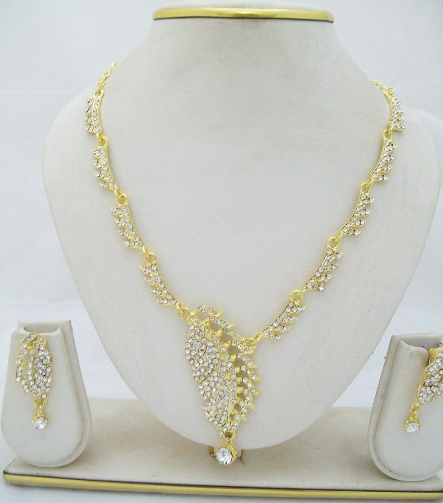 Leaf Design Gold Plated Rhinestone Necklace Earring Set