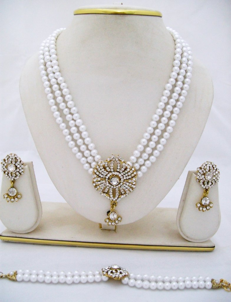 3 Row Pearl Rhinestone Necklace Earring Bracelet Set