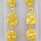 Filigree Beads Gold Plated Dangle Chandelier Earrings Pair