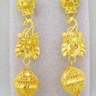 Filigree Beads Gold Plated Dangle Chandelier Earrings Pair