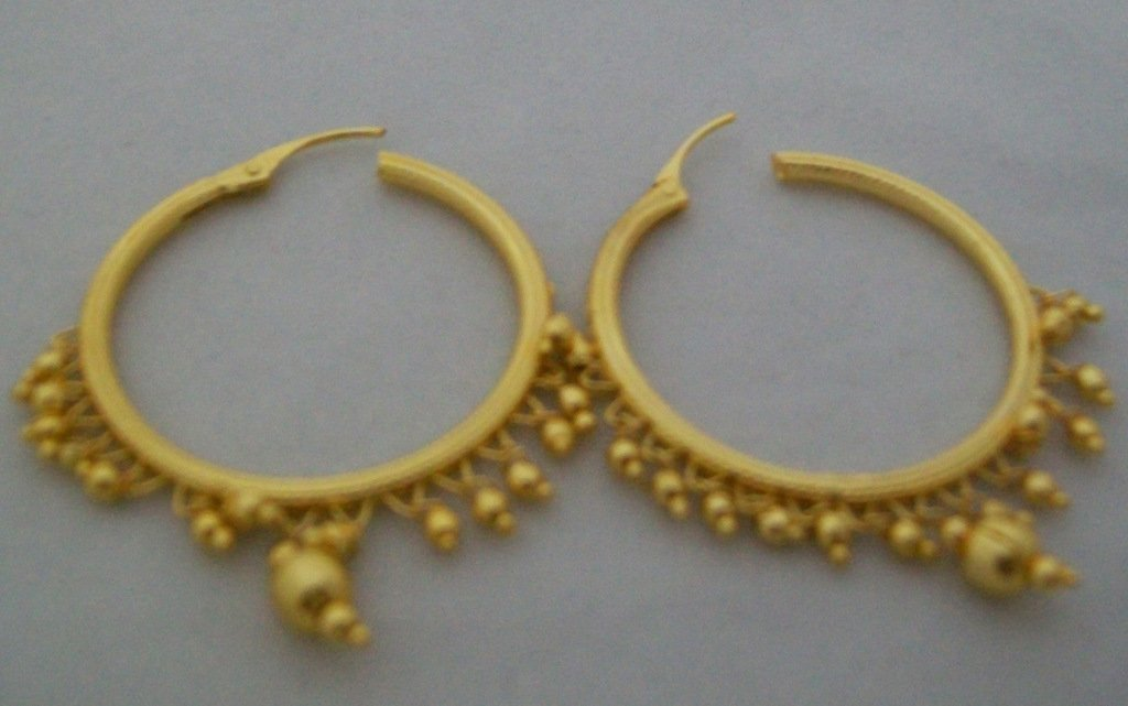 Beads Gold Plated Hoop Circle Earrings