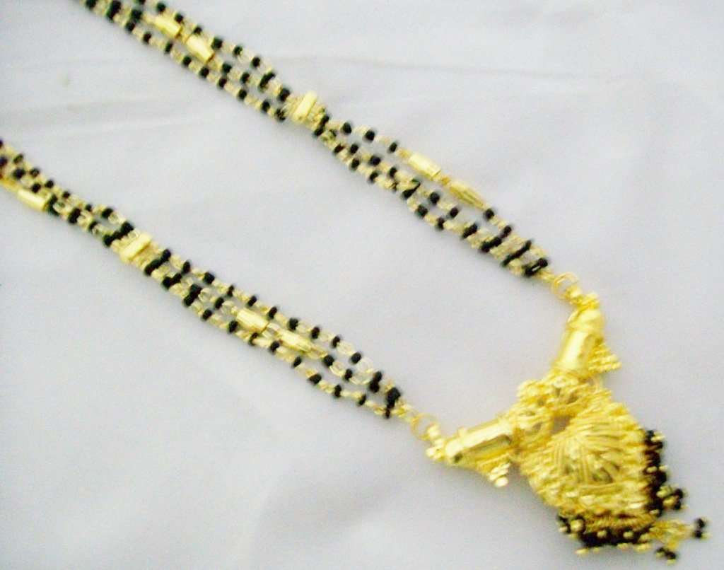22k Gold Plated Mangalsutra Simple Mala Design Bridal Jewellery