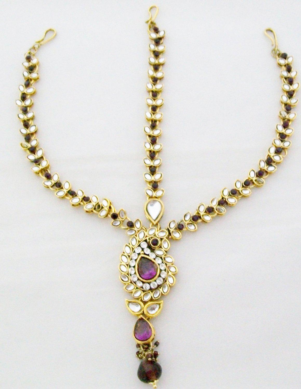 Kundan Matha Shringar Patti Indian Hair Chain Head Piece Forehead Ethnic Rajputi Dulhan Jewelry
