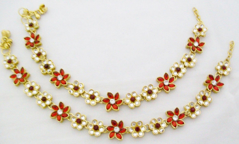Indian Kundan Anklet Pair Payal Bridal Wedding Bollywood Designer Jewelry