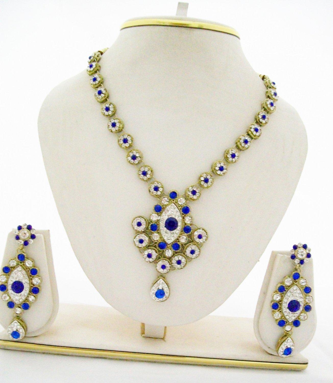 Vintage Blue Rhinestone Necklace Earring Wedding Jewelry Set