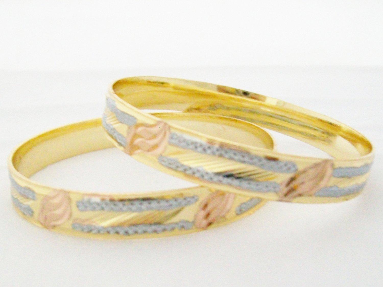 Three Tone Tri-Color Diamond Cut Gold Plated Indian Bangle Bracelet Pair