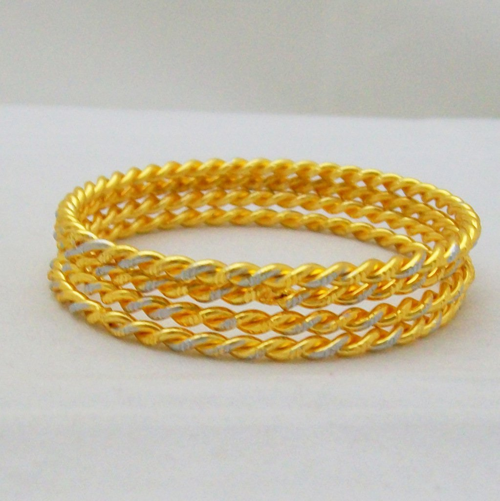 Designer Two Tone Gold Plated Cable Bangle Bracelet 4Pcs