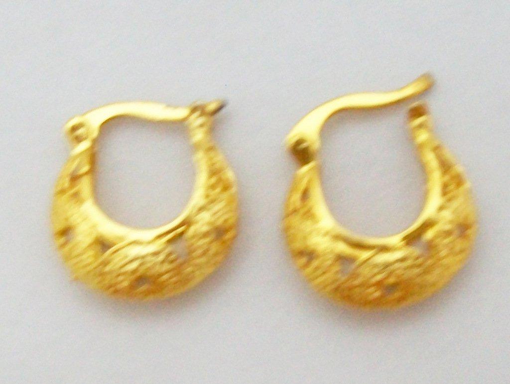 Vintage Style Filigree Gold Plated Hoop Huggie Earrings Pair