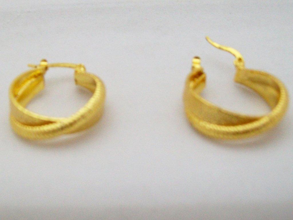 Gold Plated Double Hoop Huggie Crossover Earrings Pair