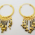 Black Beads Tassels Gold Plated Hoop Earrings Pair