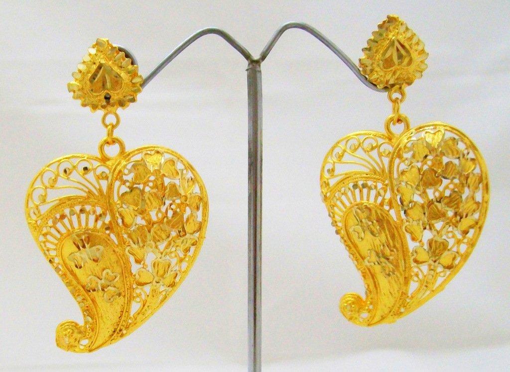 Leaf Filigree Gold Plated Dangle Chandelier Earrings Pair