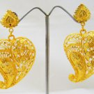 Leaf Filigree Gold Plated Dangle Chandelier Earrings Pair
