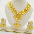 Exotic Braided Gold Plated Necklace Earring Ring Set