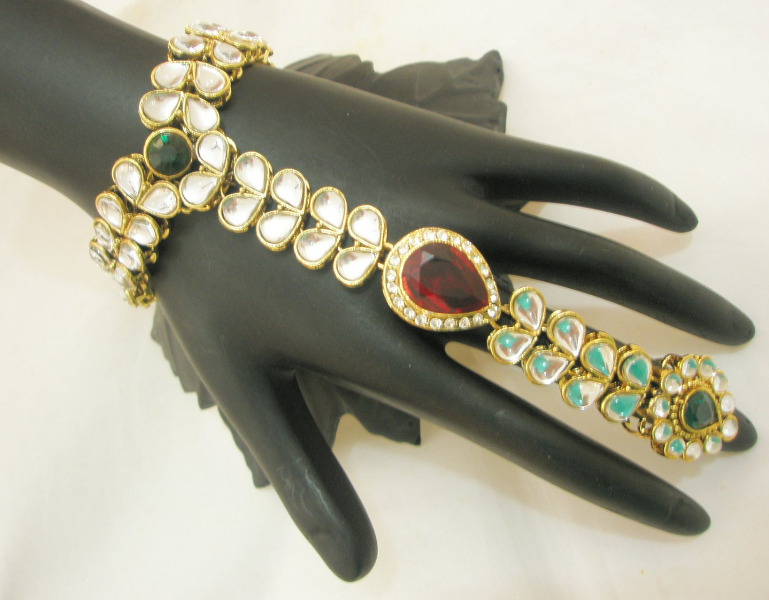 One Ring Rhinestone Slave Bracelet Pair Indian Fashion Jewellery