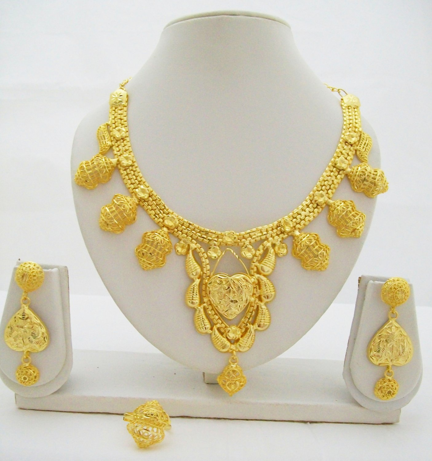 Retro Filigree Gold Plated Necklace Earring Ring Jewelry Set
