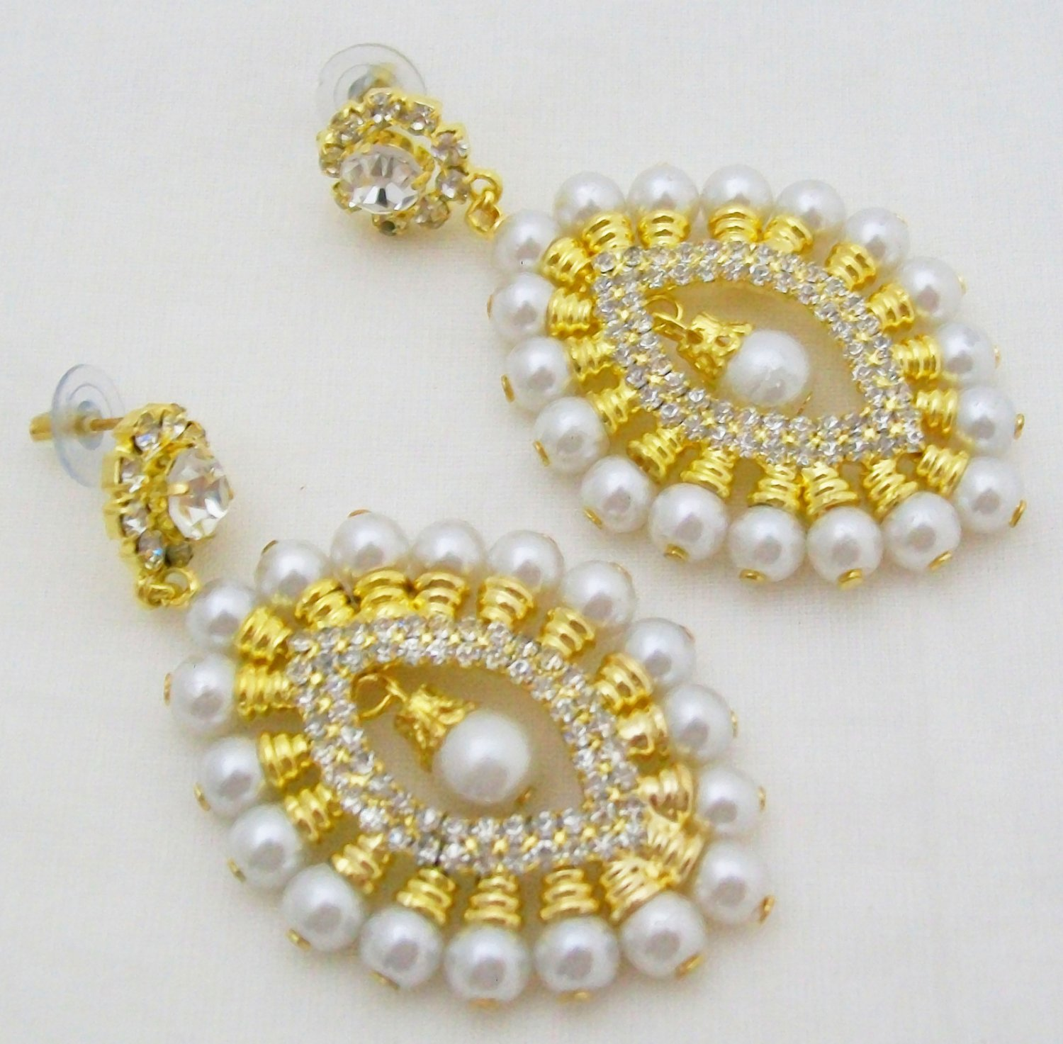 White Faux Pearl Rhinestone Drop Stud Dangle Earrings Pair