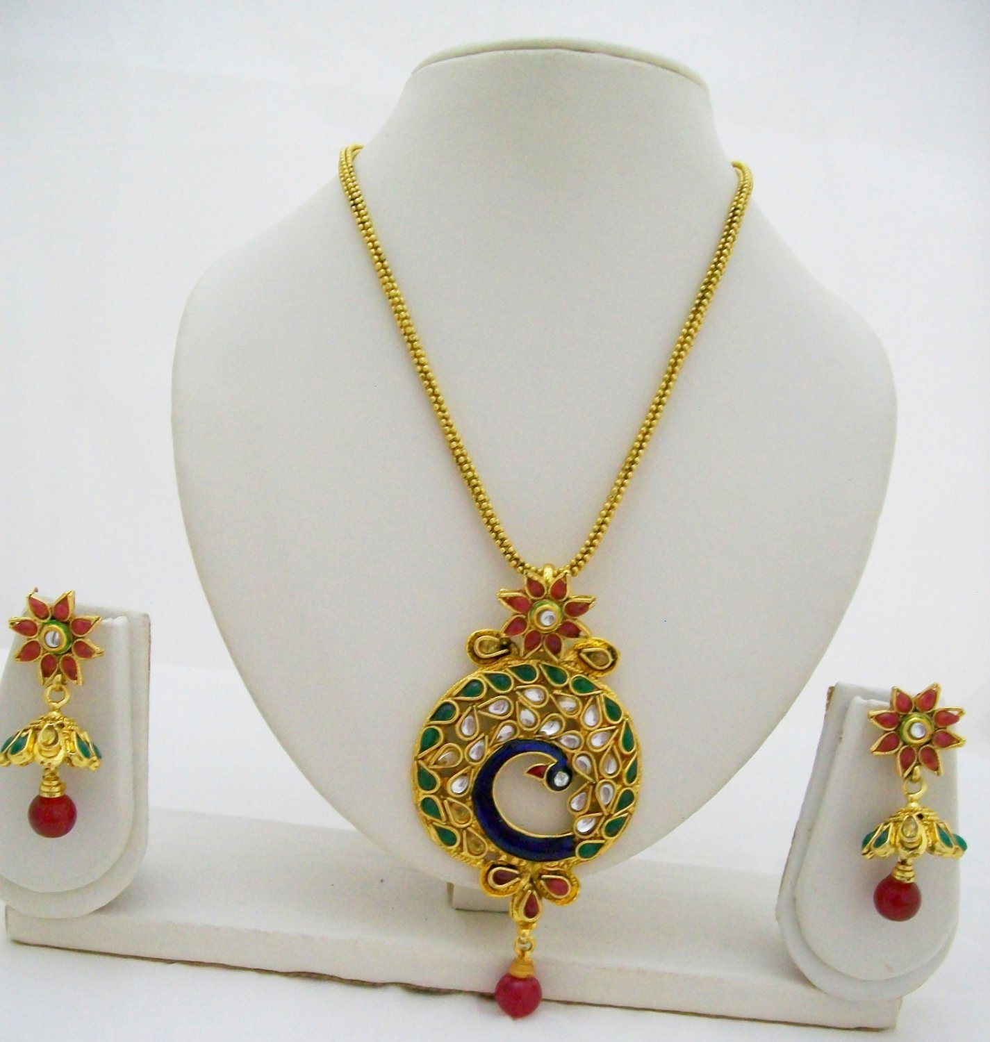 Handcrafted Peacock Design Kundan Necklace Indian Jewelry Set Blue Green