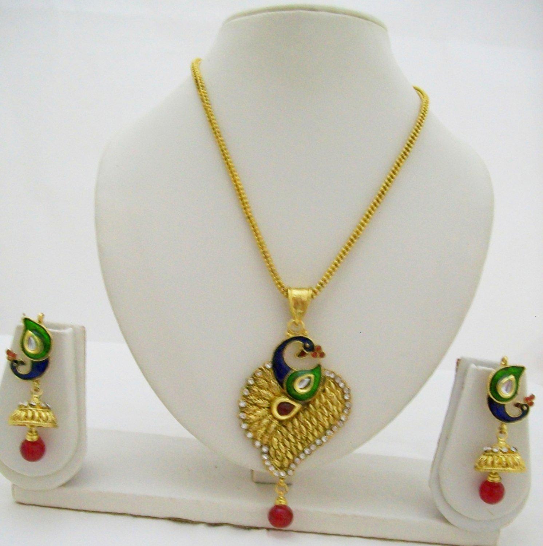 Peacock Motif Kundan Meenakari Chain Pendant Necklace Jhumka Jewelry Set