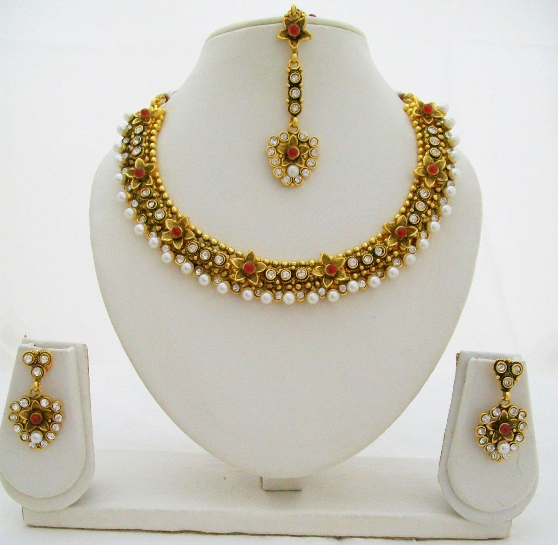 Flower Design Pearl Kundan Necklace Earring Tikka Set