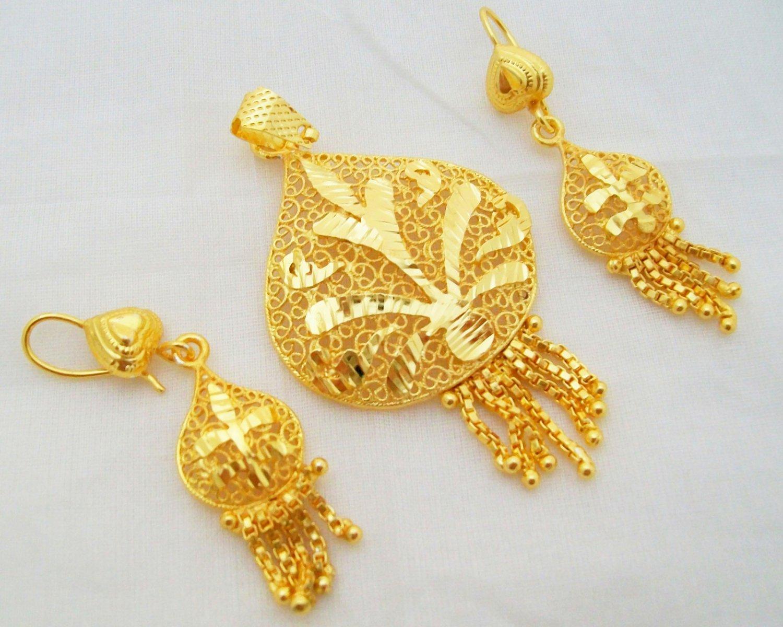 Leaf Design Filigree Gold Plated Pendant Earring Set