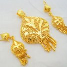 Leaf Design Filigree Gold Plated Pendant Earring Set