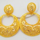Traditional Chand Bali Design Hoop Earrings Filigree 22k Gold Plated