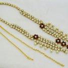 CZ Pearl Waist Belt Chain for Indian Wedding Dress Saree