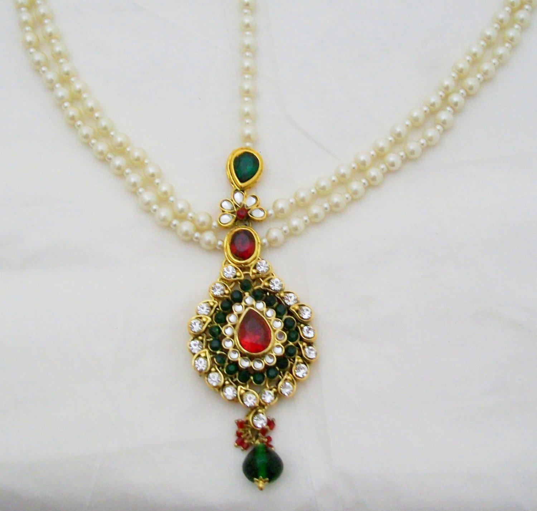 Elegant Pearl Kundan Matha Patti Antique Vintage Asian Style