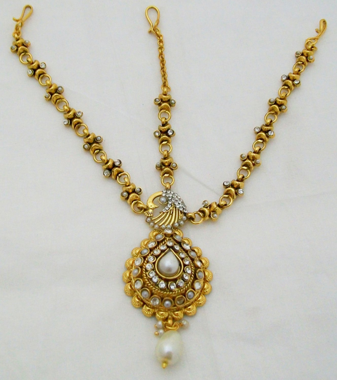 Antique Pearl Kundan Matha Patti Indian Hair Chain Head Piece Forehead Bollywood Jewelry