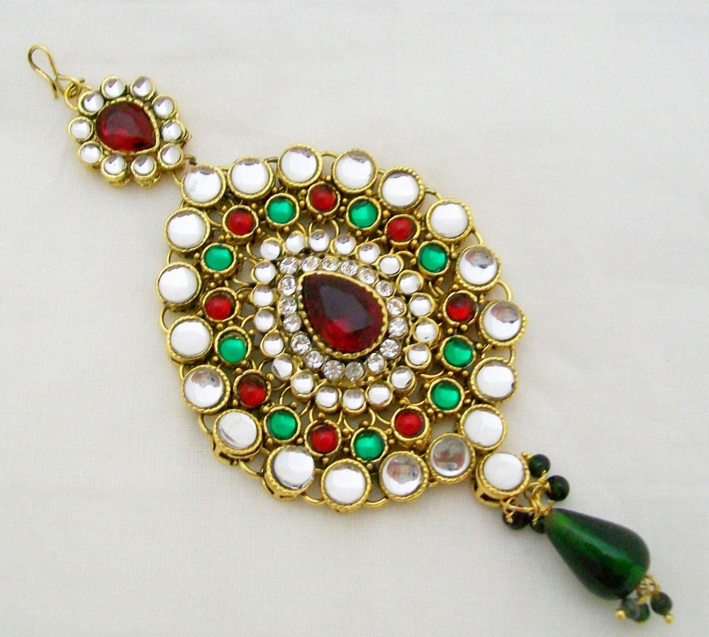 Kundan Jhumar Jhoomar Passa Tikka Indian Hair Headpiece Vintage Mughal Jewelry