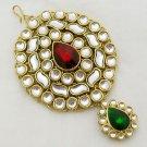 Kundan Jhumar Jhoomar Jhoomer Passa Tikka Indian Hair Headpiece Vintage Jewellery