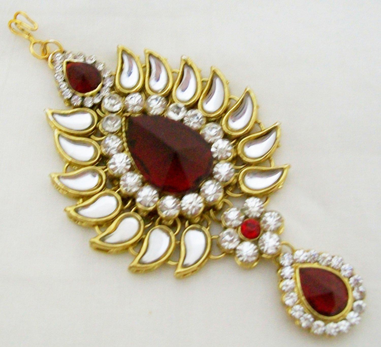 Indian Jhumar Jhoomar Jhoomer Passa Tikka Hair Forehead Wedding Kundan Jewelry