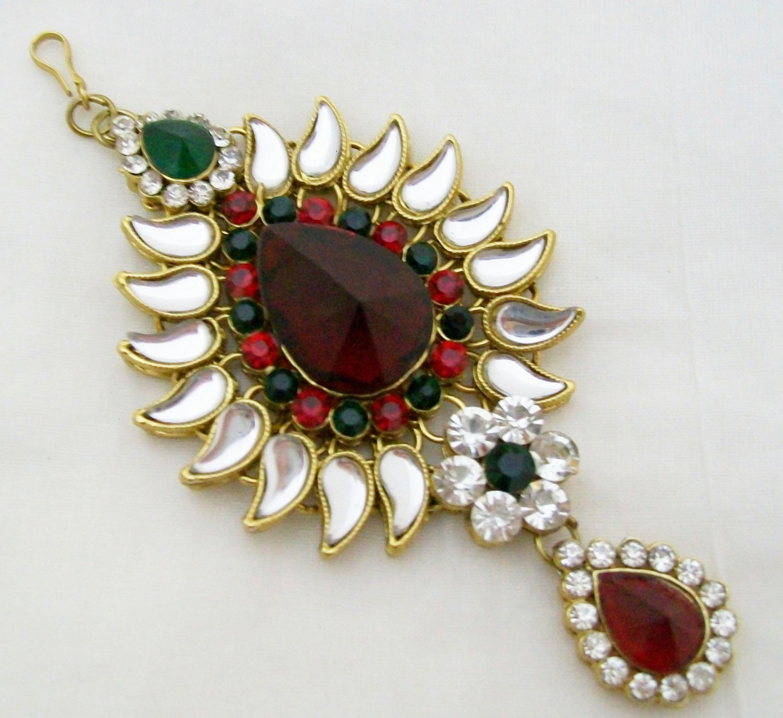 Kundan Jhumar Jhoomar Passa Side Maang Tikka Indian Hair Head Forehead Jewelry