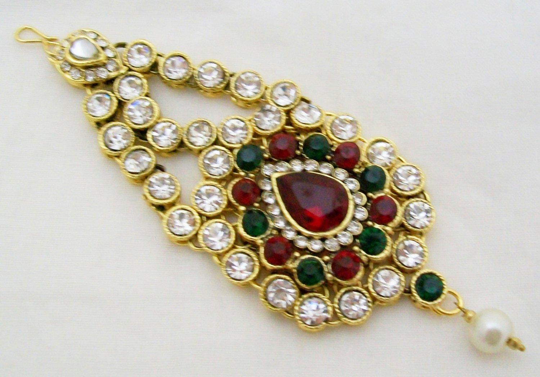 CZ Diamante Kundan Jhumar Jhoomar Passa Side Tikka Indian Hair Headpiece Jewelry