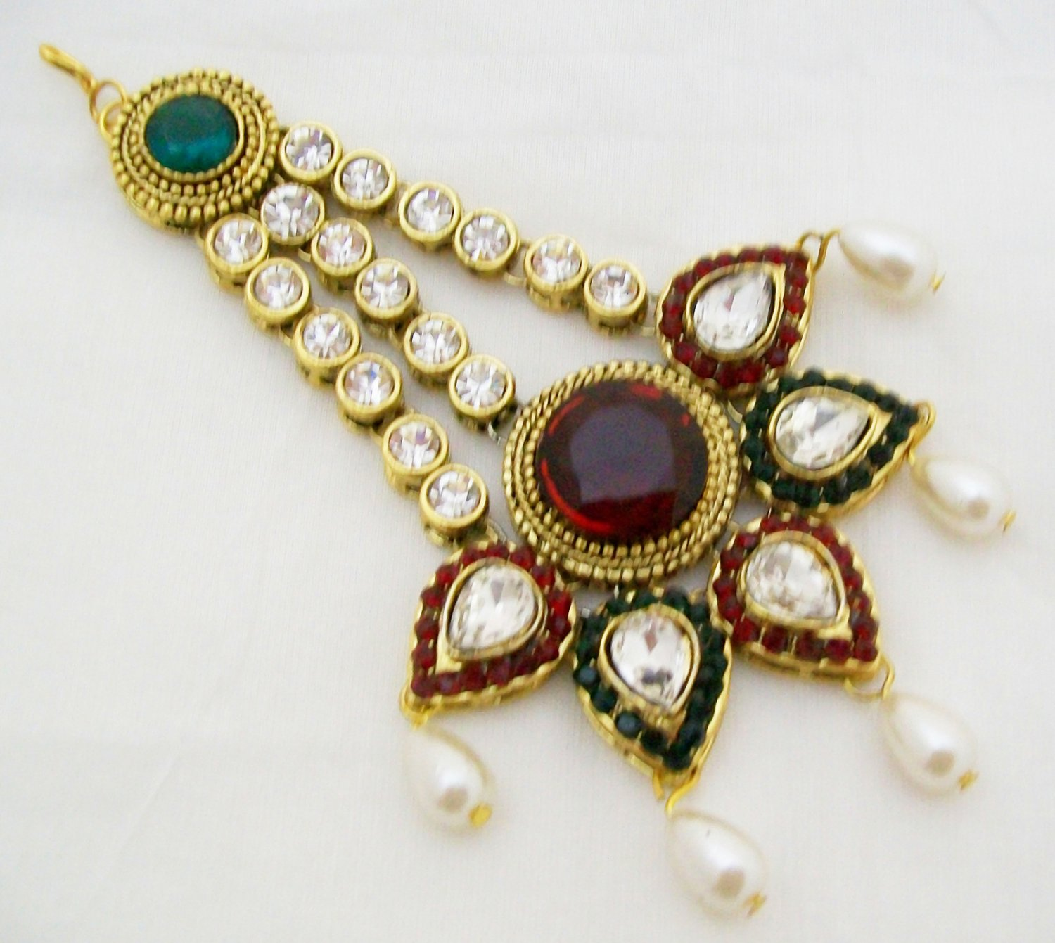 Big Antique Style Kundan Jhoomar Indian Wedding Hair Jewellery