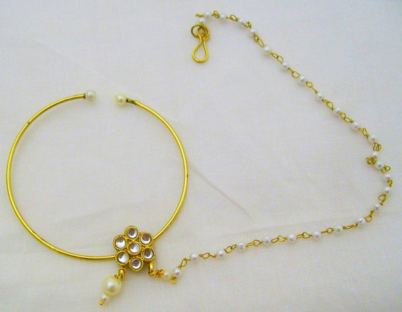 Jodha Akbar Kundan Pearls Nath Nathni Clip-On Nose Pin Ring