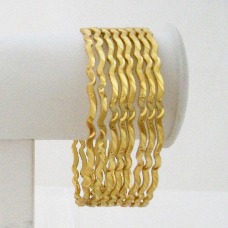 8 Pc Thin Gold Plated Bangle Bracelet Set Wavy