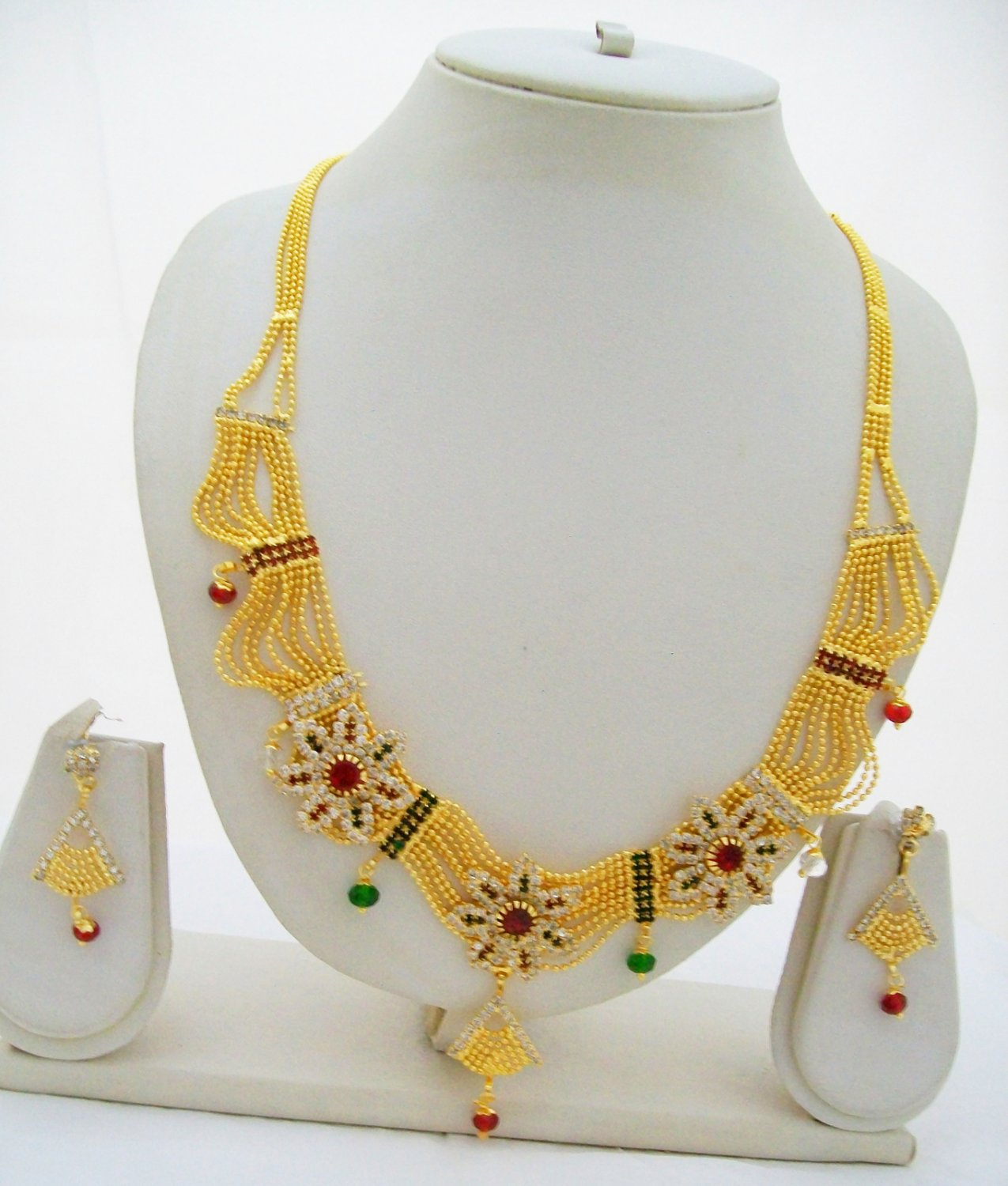 Beads Chain Gold Plated Necklace Multi Strand Layer Flower Jewelry