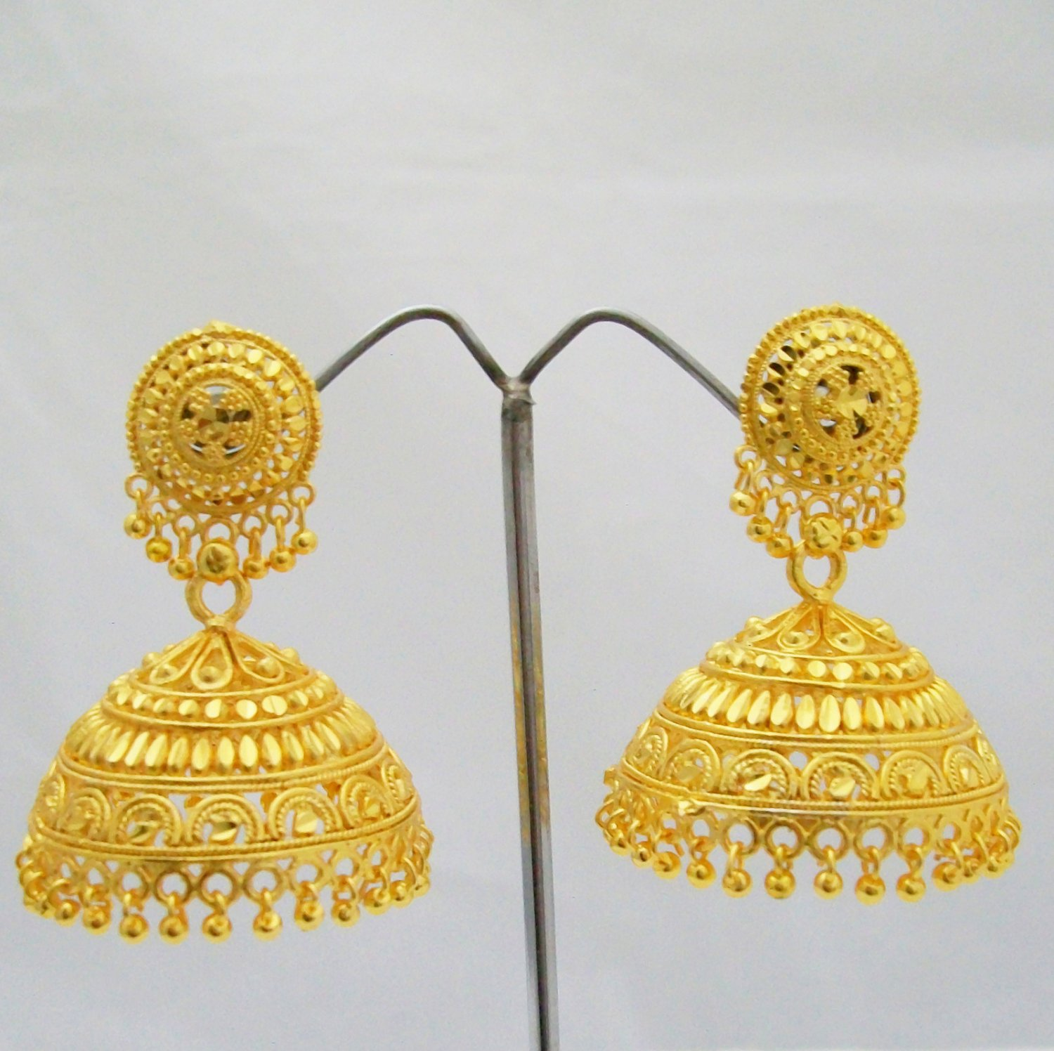 22k Big Gold Plated Jhumka Earrings Indian Traditional