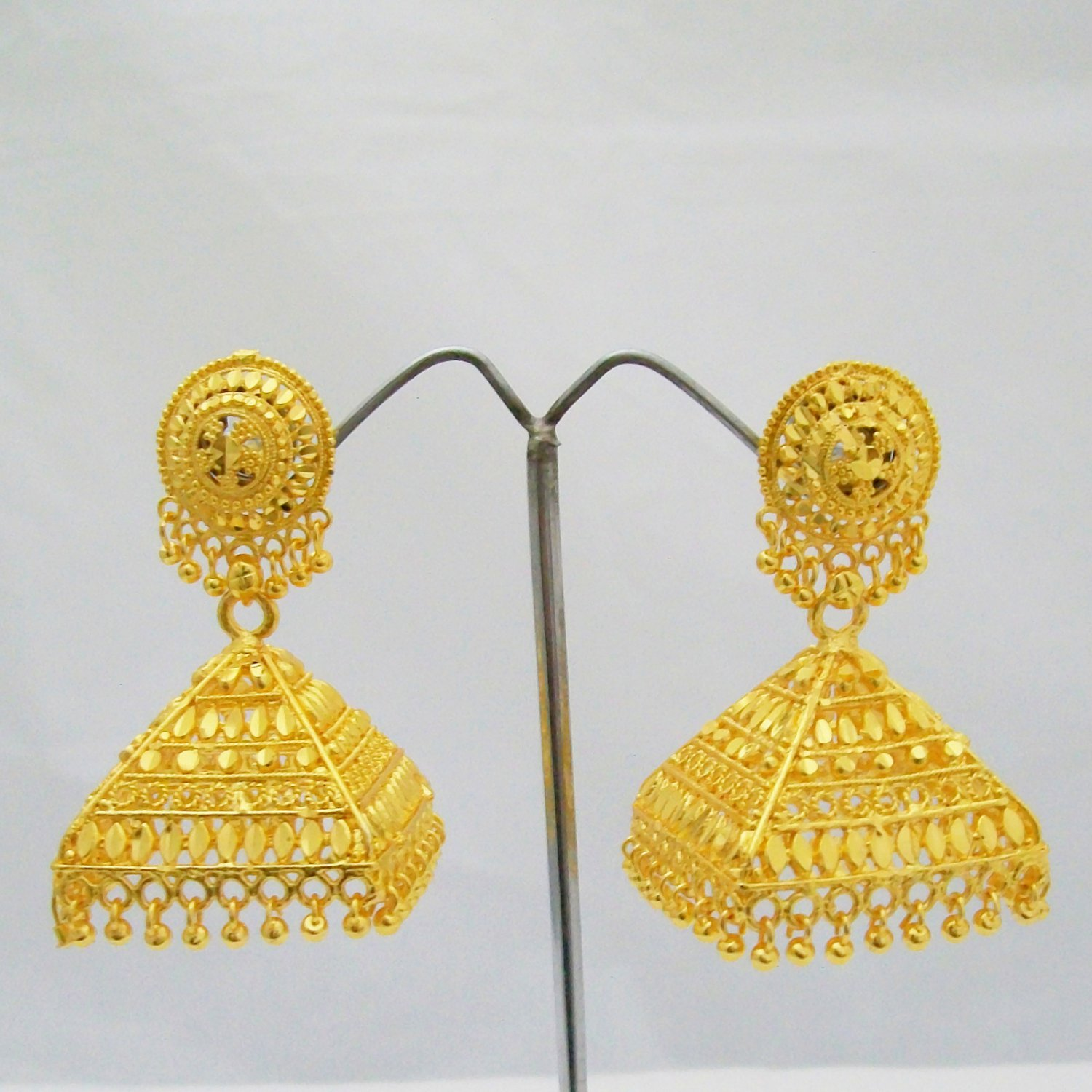 Large Gold Plated Jhumka Earrings Pyramid Pattern Rajasthan India