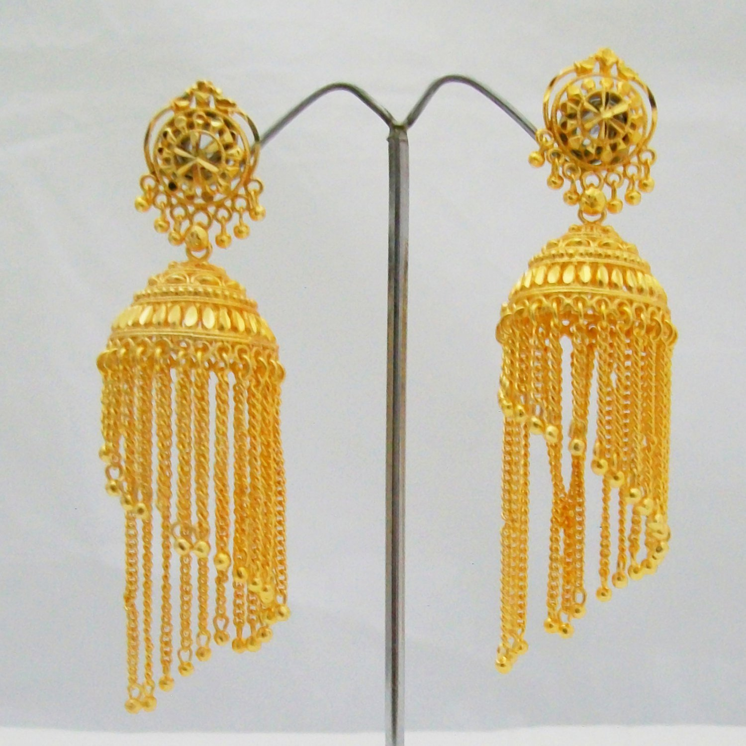 Hanging Chains Gold Plated Jhumka Earrings Long Fancy Design Latest Fashion