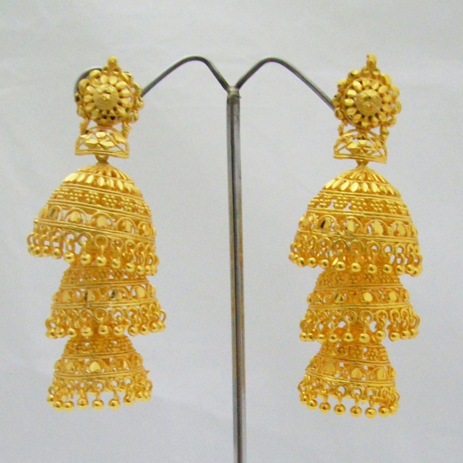 Three Layer Gold Plated Jhumka Earrings Long Indian Wedding Jewelry