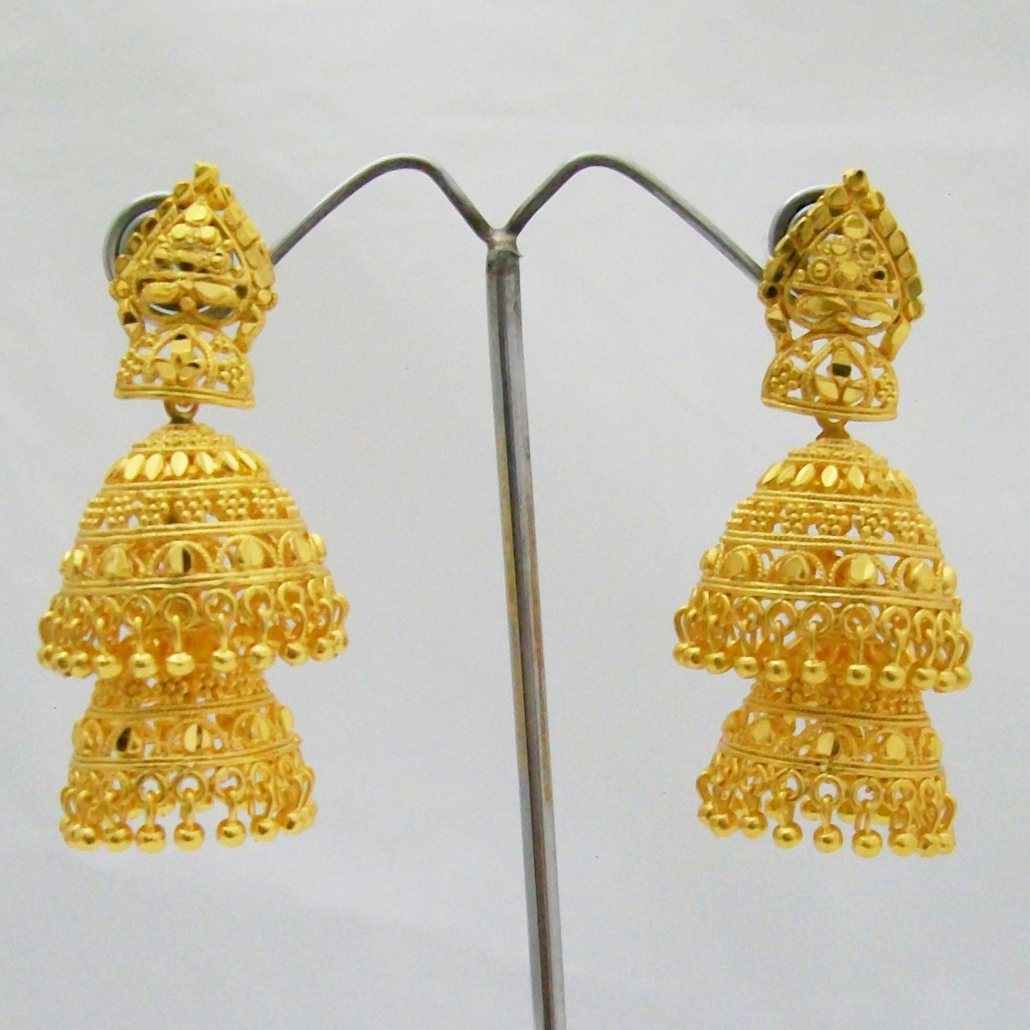 Large Double Layered Jhumka Earrings Gold Plated Metal Indian Ethnic ...