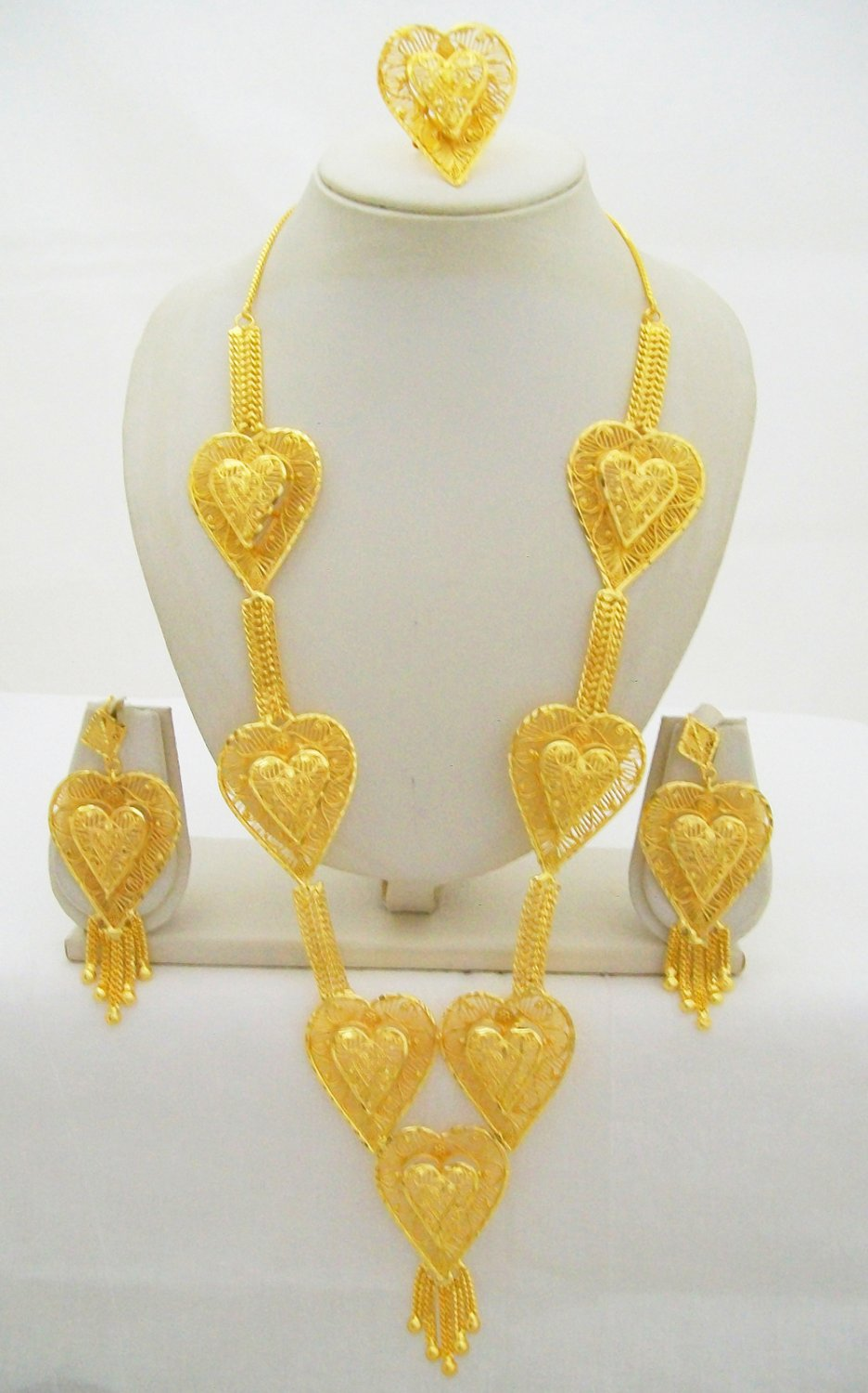 Rani Haar  Filigree Heart Gold Plated Long Necklace Indian Wedding Bridal Jewelry Set
