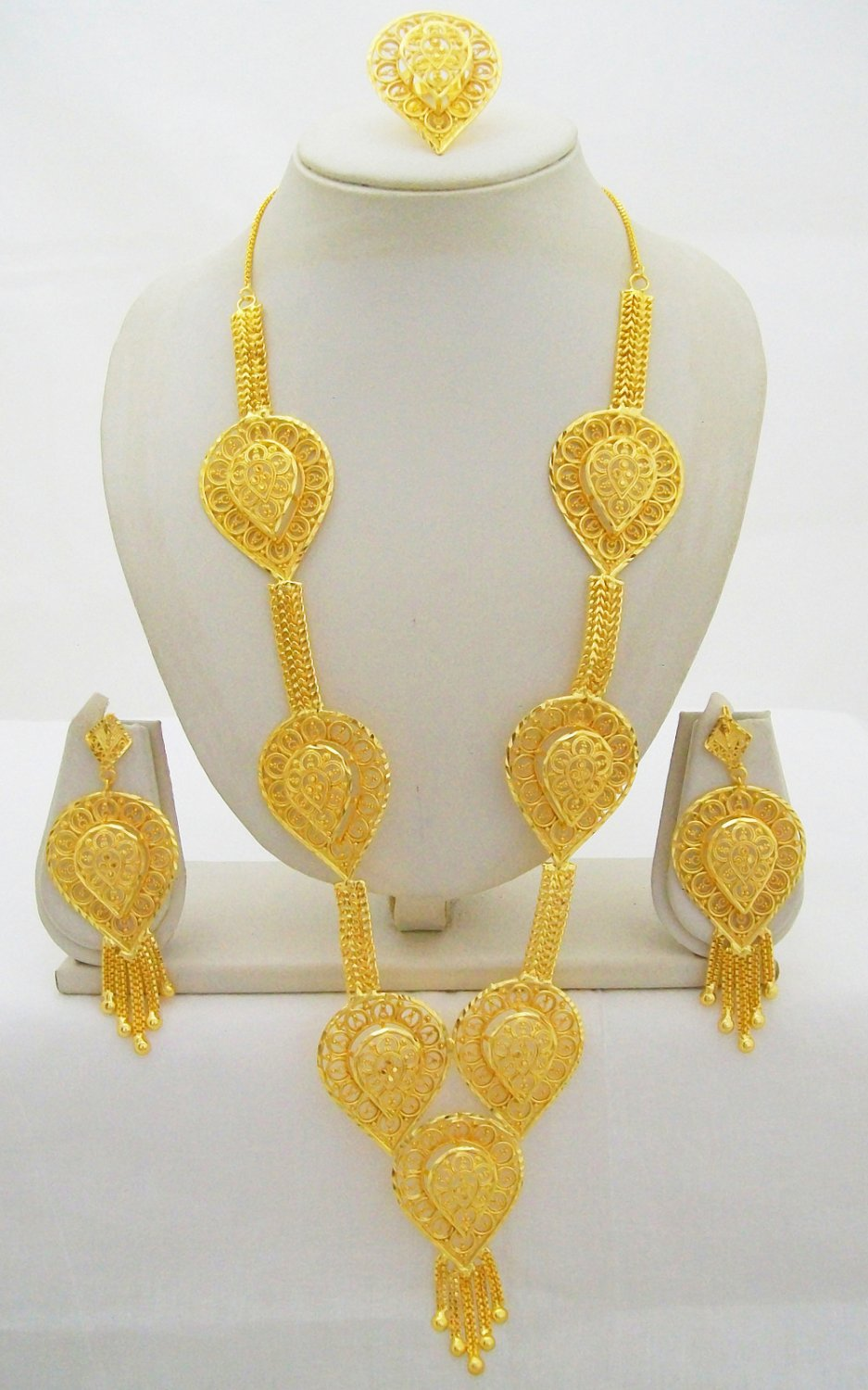 Indian Gold Plated Rani Haar Necklace Long Wedding Bridal Filigree Jewelry Set
