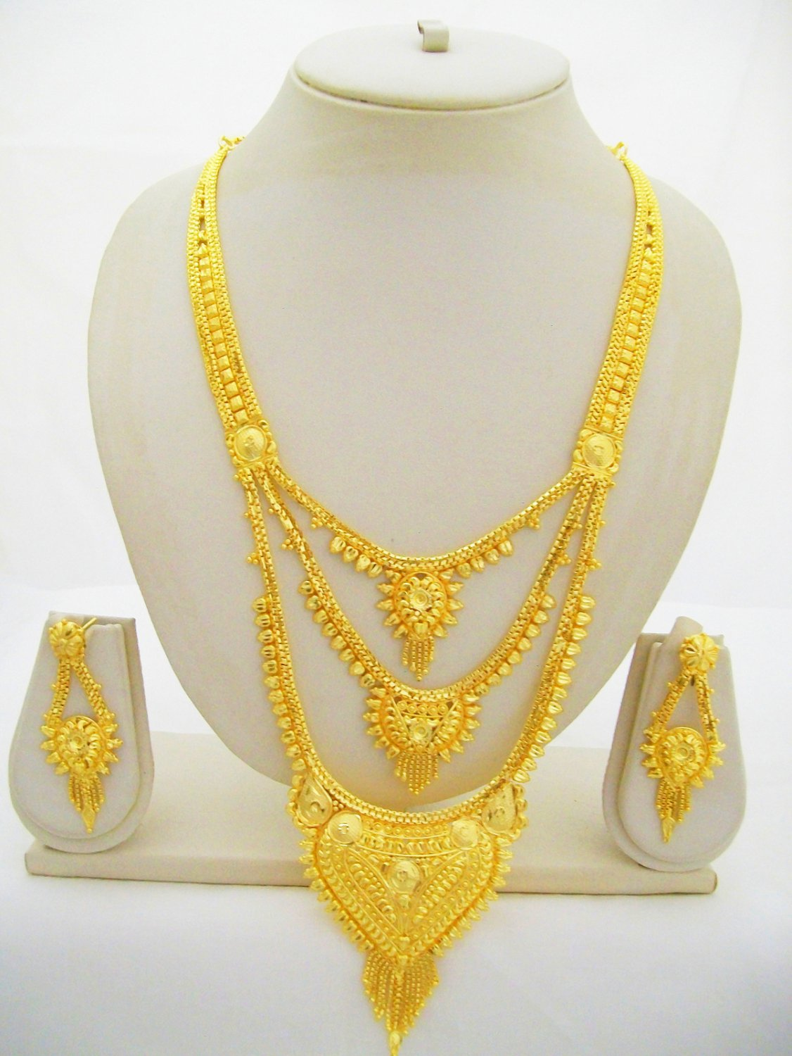Indian Gold Plated Rani Haar Long Necklace 3 Layered Bollywood 22k Jewelry Set