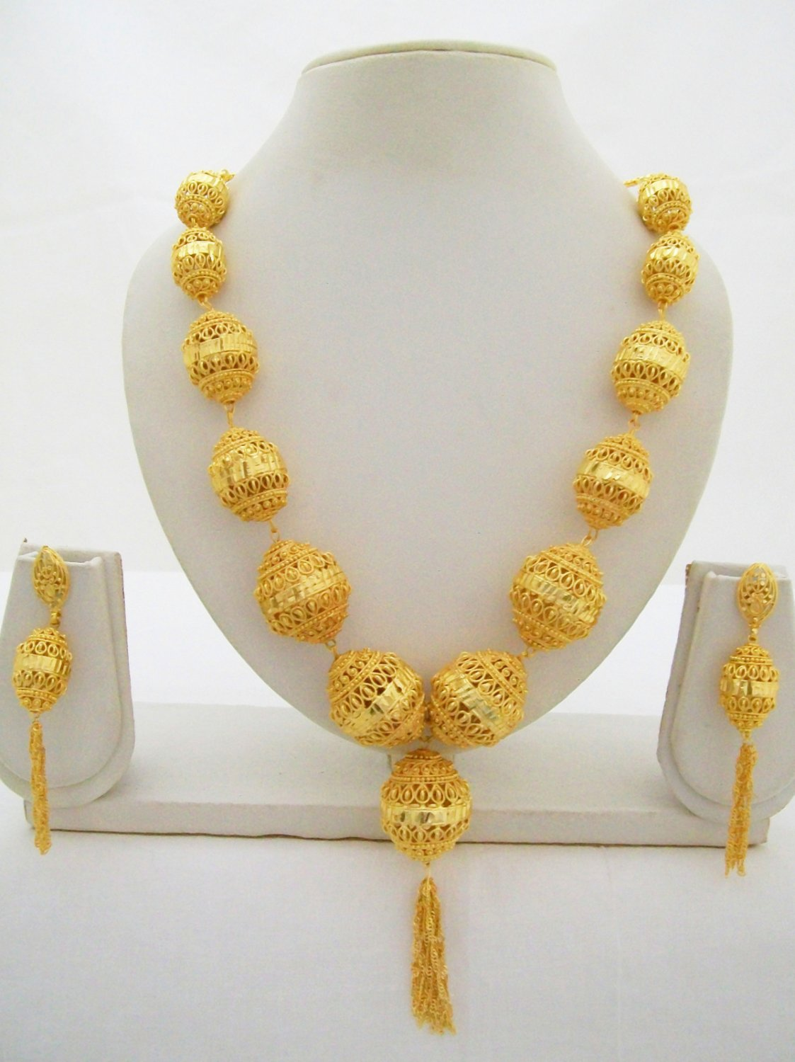 Filigree Beads Ball Yellow Gold Plated Long Chain Necklace Indian Jewelry Set & Filigree Beads Ball Yellow Gold Plated Long Chain Necklace Indian ...