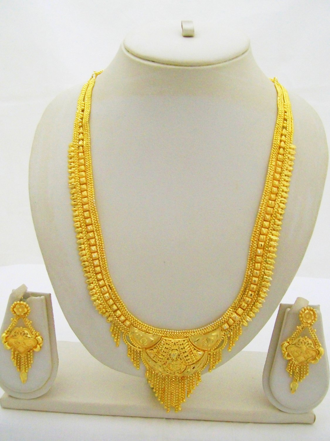 Gold Plated Indian Rani Haar Necklace Earring Filigree Long Ethnic Jewelry Set