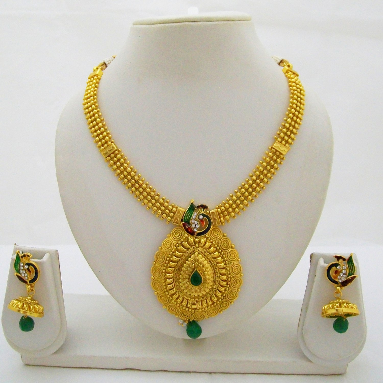 Meenakari Peacock Gold Plated Beads Necklace Jhumka Indian Wedding Jewelry Set